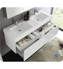 White Wall Bathroom Cabinet Fresca Fvn8042wh Mezzo 59