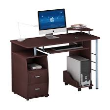 stylish computer desk office brown wooden computer desk apple book cabinet mouse