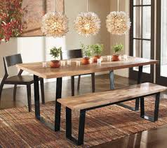 Dining Room Light Fittings Modern Indusgrial Dining Table Set With Bench And Three Flowery