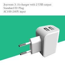 l with usb charger joyroom l m209 3 1a eu dual usb ports travel charger for iphone 7 6s