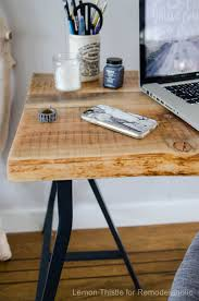remodelaholic ikea hack easy diy live edge desk with trestle legs