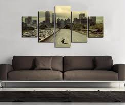 drop shipping home decor 5 panel painting drop shipping hd printed the walking dead zombies