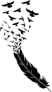 trend setting feather wall decal graphic with birds flying away