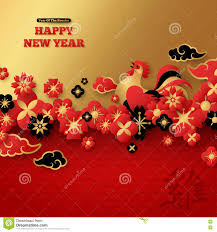 chinese new year with floral border and rooster stock vector