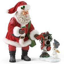 clothtique santa santa with woodland animals possible dreams figurine set