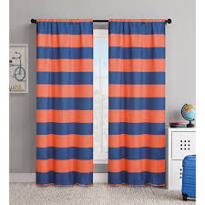 Rugby Stripe Curtains 84 Inch Orange Navy Blue Rugby Stripes Curtains Pair Panel Set