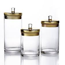 amazon com fifth avenue 3 piece glass canisters with gold lids