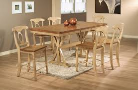 Dining Room Set by Quails Run Counter Height Trestle Table Dining Room Set In Almond