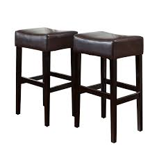 amazon com best selling classic brown leather backless barstool