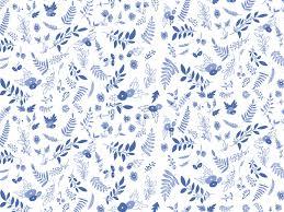 blue white floral botanical pattern desktop wallpaper background