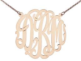 Monogram Necklaces Gold Monogram Necklace