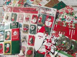 vintage christmas wrapping paper lot retro vintage christmas gift wrap 50s 60s 70s wrapping paper