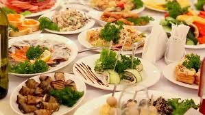 table full of food table full of food served tables in restaurant stock footage video