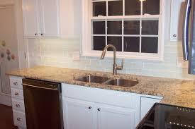 kitchen with glass tile backsplash glass subway tile backsplash with cabinets what color