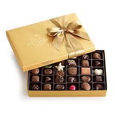 assorted chocolate gold gift box 36 pc classic ribbon gold godiva