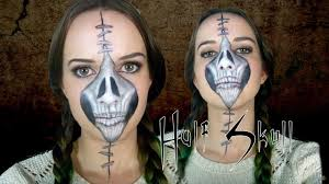 half stapled skull halloween day of the dead makeup tutorial