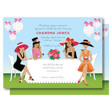 brunch party invitations american bridal shower big hat chagne