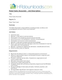 Maintenance Job Description Resume by Sales Associate Job Description Resume Job Descriptions For Retail