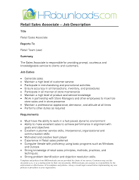 sample resume for retail sales associate sales associate job description resume the best letter sample sales retail resume for job retail sales associate resume sales scl2dpmx
