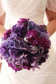 hydrangea bouquet purple hydrangea bouquet with crystals real wedding bouquets and
