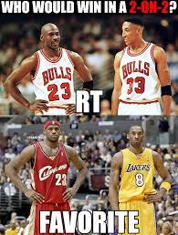 Kobe Lebron Jordan Meme - nba memes on twitter who would win this 2 on 2 rt for michael