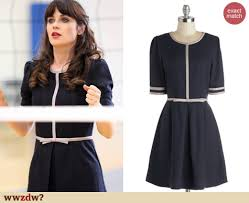 zooey deschanel new girl fashion wwzdw what would zooey deschanel s navy bow front dress on new girl wwzdw what