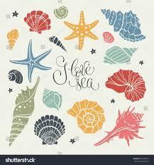 hand drawn sea shells stars collection stock vector 635522633
