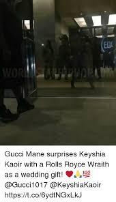 wedding gift meme eda gucci mane surprises keyshia kaoir with a rolls royce wraith