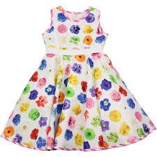 designer childrenswear monnalisa bright multicoloured flower print dress multicoloured