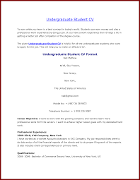 Resume Sample Undergraduate by 13 Curriculum Vitae Examples For Students Sendletters Info