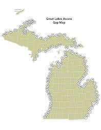 map of michigan lakes dnr great lakes access gap map