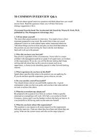 most questions in job interview job interview questions worksheet free esl printable worksheets