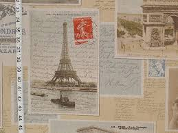 Vintage Drapery Fabric Paris Postcard Fabric French Vintage Letters Documentary