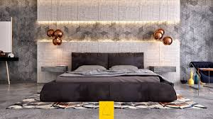 Bedroom With Yellow Accent Wall Sleek Yellow Accent Wall For Loft Bedroom With Queen Bed And