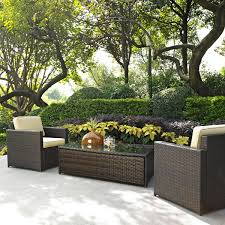patio 3 piece set crosley palm harbor 3 piece outdoor wicker seating set two