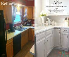 Before And After Painted Kitchen Cabinets by Kitchen Makeover Using Repurpose Paint Paintedcabinets Kitchen