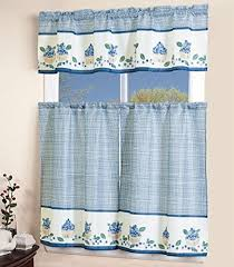 Blue And White Window Curtains Blue Kitchen Curtains Amazon Com