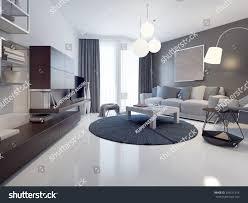 idea contemporary living room white grey stock illustration