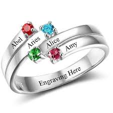 cheap mothers rings 4 ribbon band engraved mothers ring offset think engraved