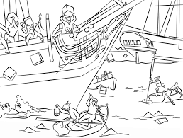boston tea party america war coloring page history free