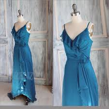 2015 cerulean spaghetti strap flounce bridesmaid dress ruffled