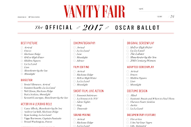 printable oscars ballot 2017 all the nominees and more vanity fair
