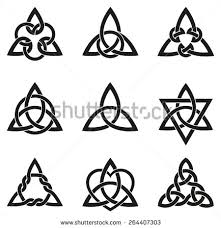 set wiccan symbols triquetra celtic knot stock vector 120578998