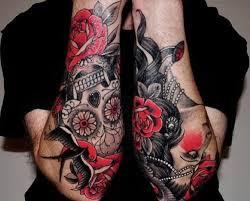 skull day of the dead on leg