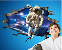 high quality outer space wallpaper buy cheap outer space wallpaper 3d astronaut came through outer space wall art mural decal sticker kids boys nursery room wallpaper