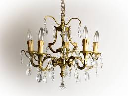 1950s Chandelier Vintage Bronze 1950s 60s French Chandelier With Crystals 5 Arm