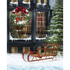 Christmas Photo Backdrops Christmas Sled Printed Backdrop Backdrop Express