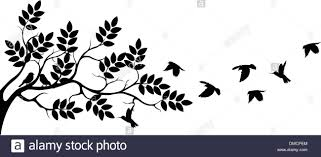 tree silhouette with birds flying stock vector illustration