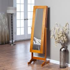 Jewelry Box Mirrored Armoire Furniture Espresso Mirror Jewelry Armoire With Single Door And