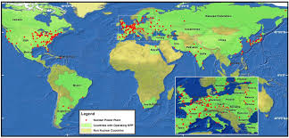 Fukushima Fallout Map by Location Of Nuclear Power Plants In The World 1968x945 Mapporn